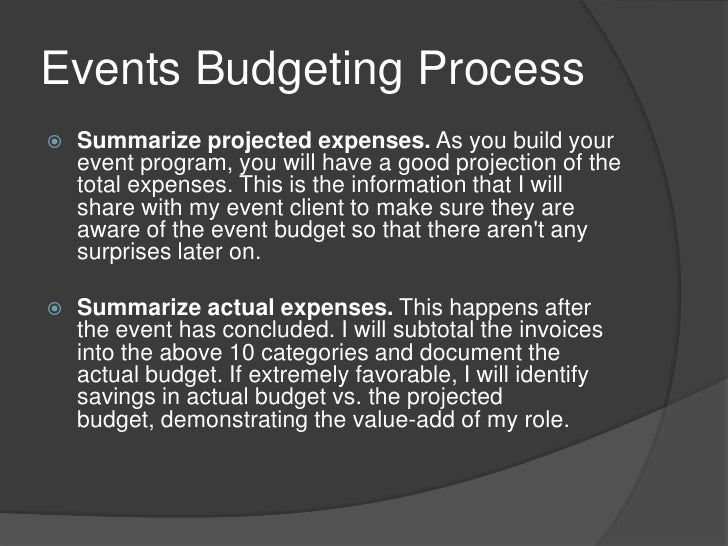 budgeting for events
