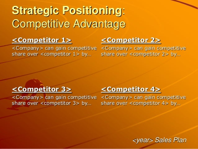 Strategic Positioning: Competitive Advantage <year> Sales Plan <Competitor 1> <Company> can gain competitive share over <c...