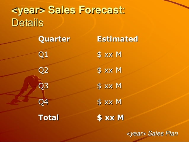 <year> Sales Forecast: Details <year> Sales Plan Quarter Estimated Q1 $ xx M Q2 $ xx M Q3 $ xx M Q4 $ xx M Total $ xx M