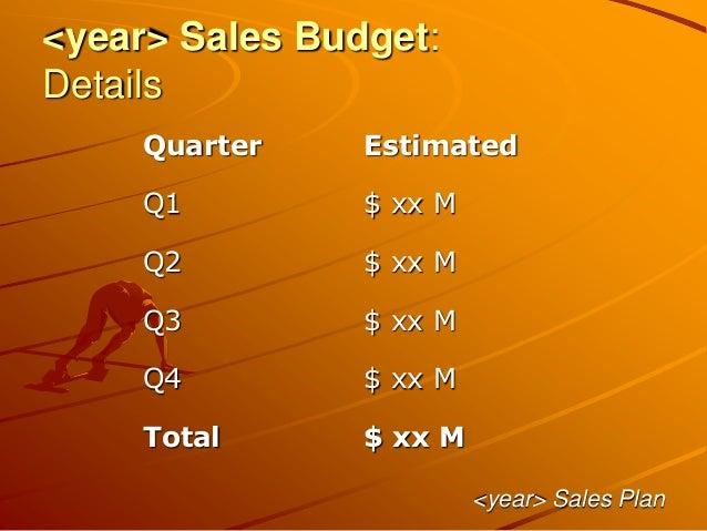 <year> Sales Budget: Details <year> Sales Plan Quarter Estimated Q1 $ xx M Q2 $ xx M Q3 $ xx M Q4 $ xx M Total $ xx M