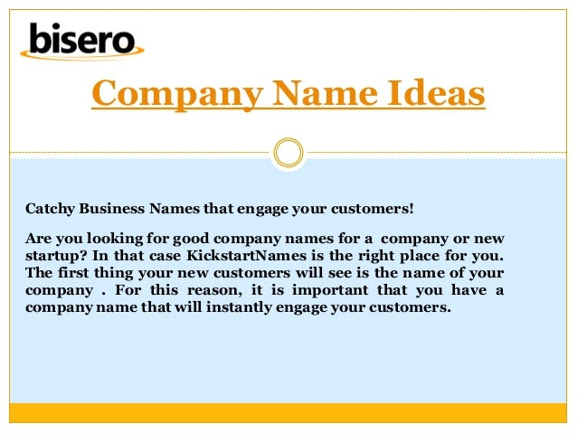 how to choose a good company name