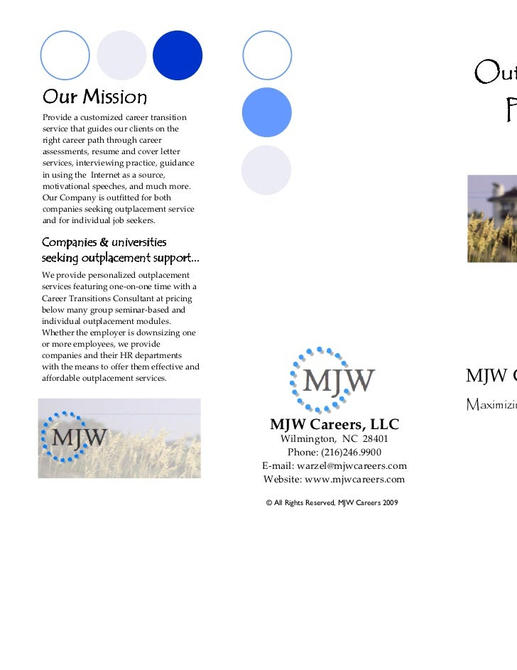 company outplacement pricing brochure