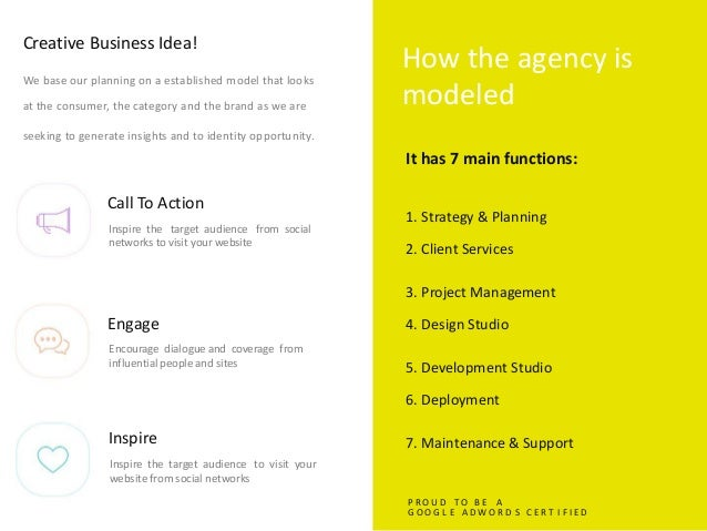Creative Business Idea! How the agency is modeled We base our planning on a established model that looks at the consumer, ...