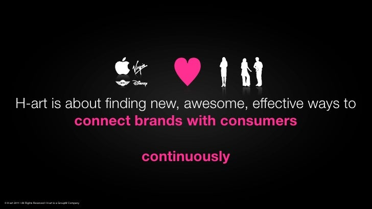 H-art is about finding new, awesome, effective ways to                   connect brands with consumers                     ...