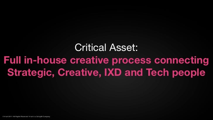 Critical Asset: Full in-house creative process connecting  Strategic, Creative, IXD and Tech people© H-art 2011 | All Righ...
