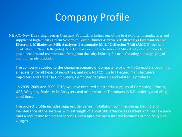 Netco New Dairy Eng Amp Trading Co Pvt Ltd