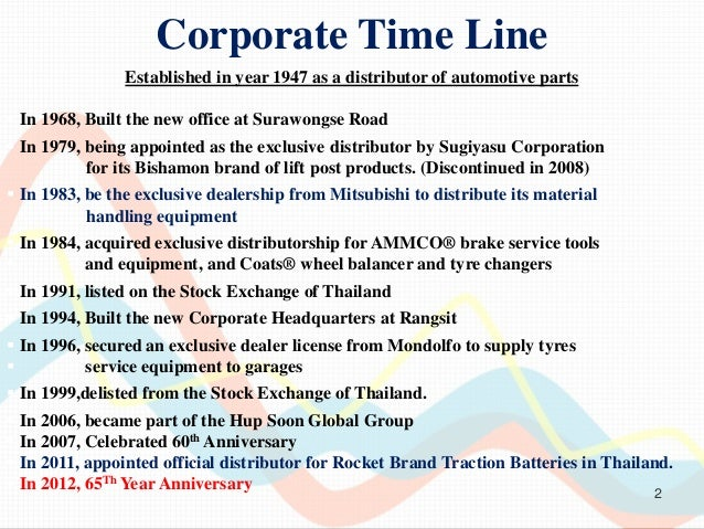 Corporate Time Line                Established in year 1947 as a distributor of automotive parts In 1968, Built the new o...