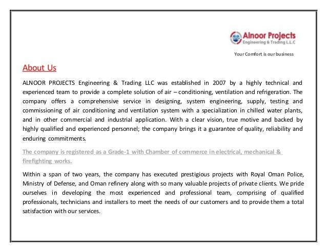 Al Noor Projects & Engineering Trading LLC Company profile