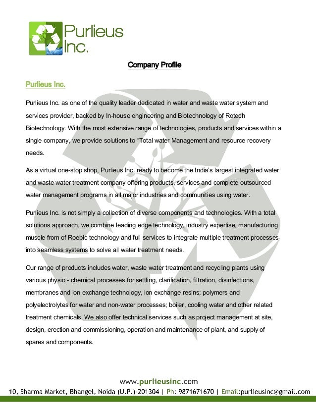 Company ProfilePurlieus Inc.Purlieus Inc. as one of the quality leader dedicated in water and waste water system andservic...