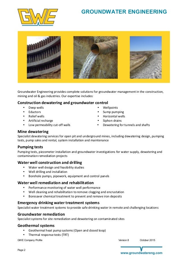 Company Profile Groundwater Engineering