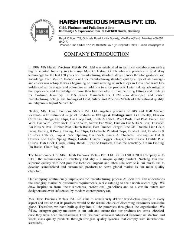 Company profile of harsh precious metals pvt  ltd