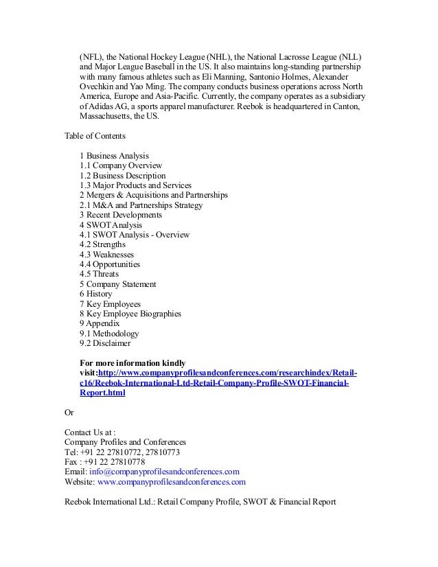 Company profile of reebok international ltd 976c4e45e