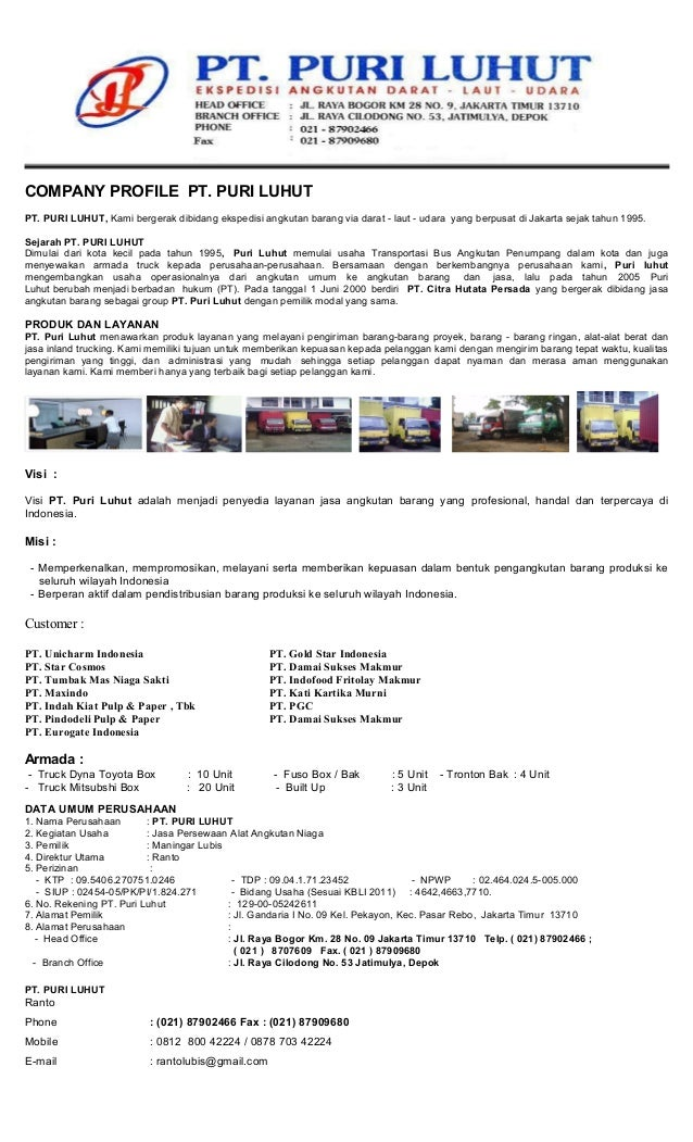 Company Profile Pt 1 Lembaar