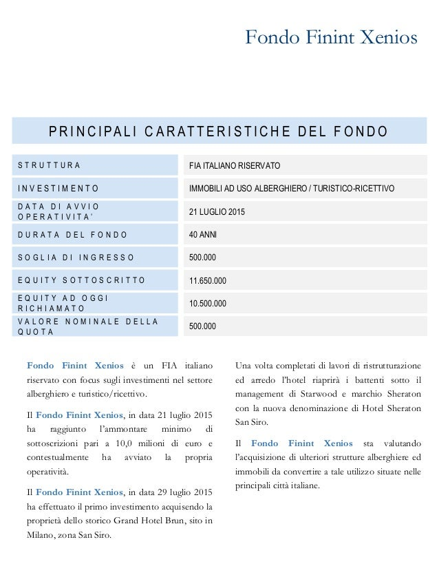 Company profile finint investments sgr for Hotel milano zona san siro