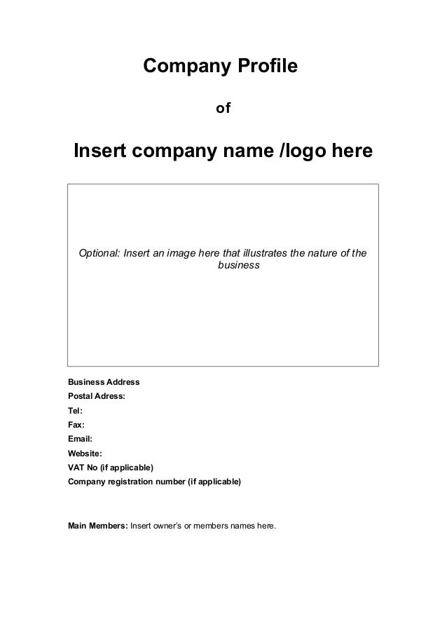 Company Profile Of Insert Company Name /logo Here Optional: ...  Company Business Profile Sample