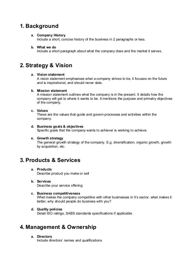 Samples of company profiles format