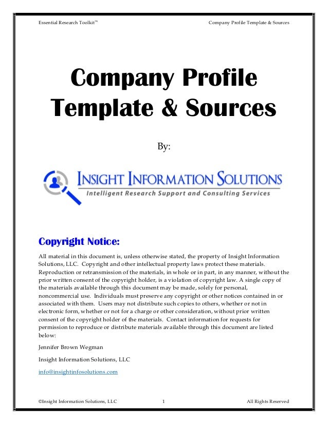 Essential Research Toolkit™ Company Profile Template U0026 Sources ©Insight  Information Solutions, ...  Company Information Template