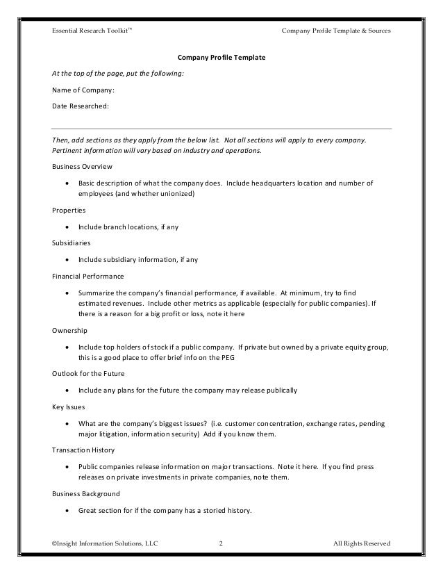 Company Description Template  BesikEightyCo