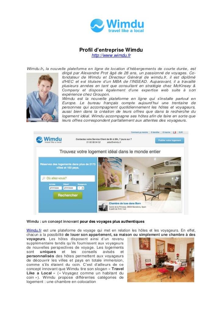 Profil d'entreprise Wimdu                                    http://www.wimdu.frWimdu.fr, la nouvelle plateforme en ligne ...