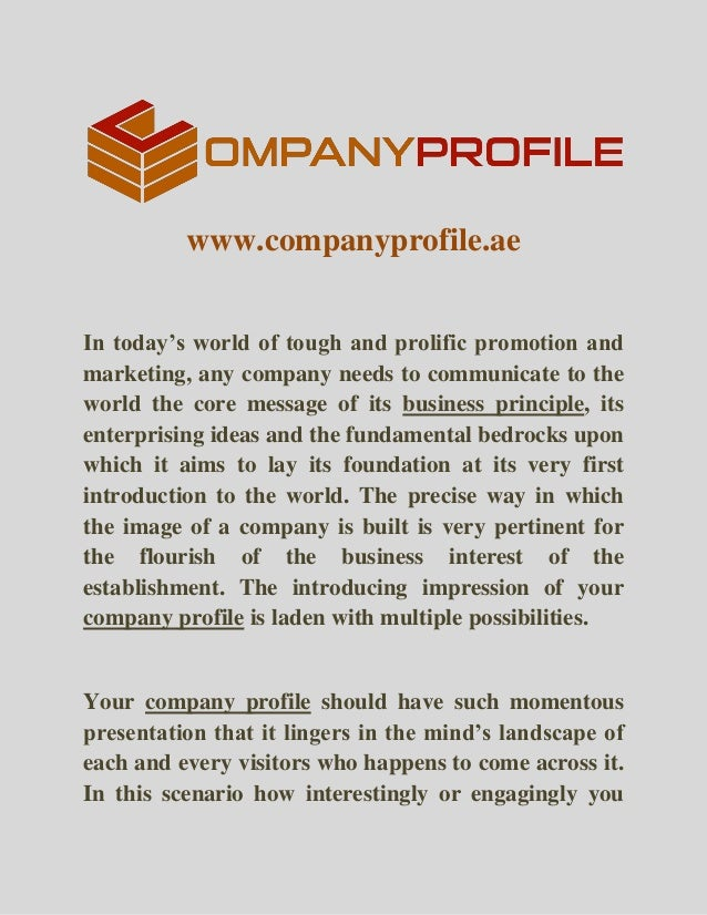 Www.companyprofile.ae In Todayu0027s World Of Tough And Prolific Promotion And  Marketing, ...  Profile Writing