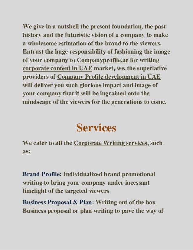about company profile writing services