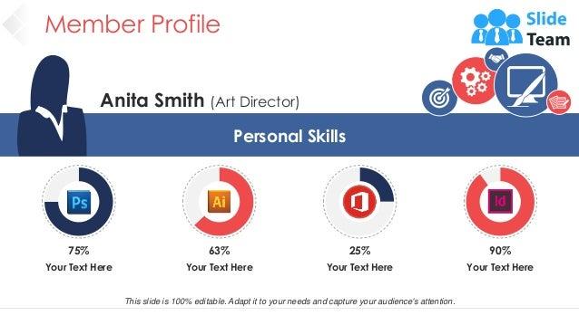 Member Profile 13 Anita Smith (Art Director) Personal Skills Your Text Here 75% Your Text Here 63% Your Text Here 25% Your...