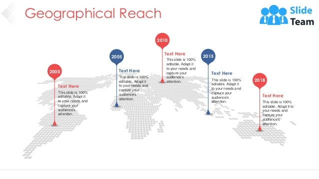 Geographical Reach 14 2000 2005 2010 2015 2018 Text Here This slide is 100% editable. Adapt it to your needs and capture y...
