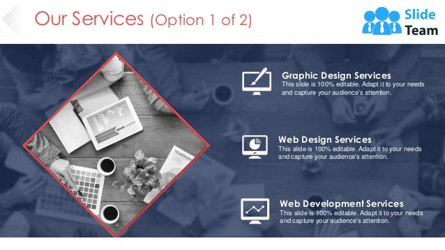 Our Services (Option 1 of 2) Graphic Design Services This slide is 100% editable. Adapt it to your needs and capture your ...