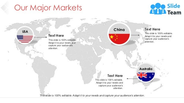 Our Major Markets 27 China Text Here This slide is 100% editable. Adapt it to your needs and capture your audience's atten...