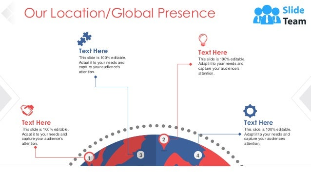 Our Location/Global Presence 41 1 2 4 3 Text Here This slide is 100% editable. Adapt it to your needs and capture your aud...
