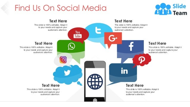 Find Us On Social Media 42 Text Here This slide is 100% editable. Adapt it to your needs and capture your audience's atten...