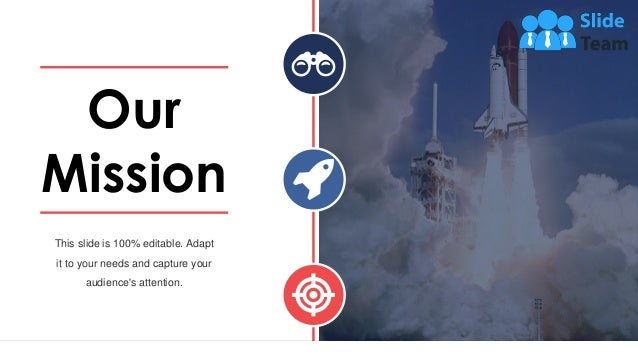 This slide is 100% editable. Adapt it to your needs and capture your audience's attention. Our Mission 54