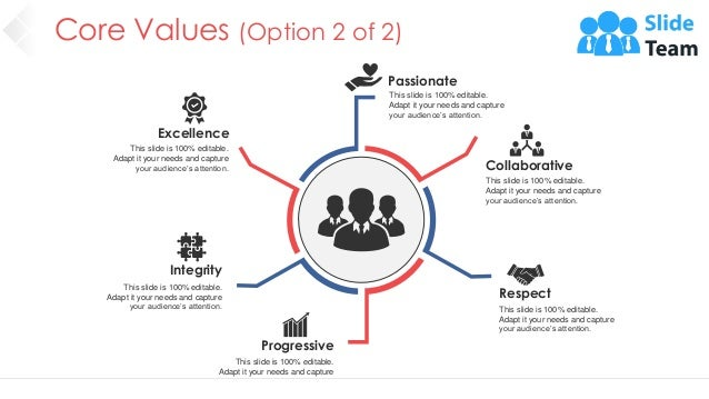 Core Values (Option 2 of 2) 7 Excellence This slide is 100% editable. Adapt it your needs and capture your audience's atte...