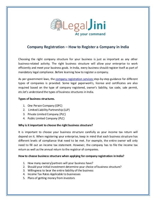 Company Registration – How to Register a Company in India Choosing the right company structure for your business is just a...