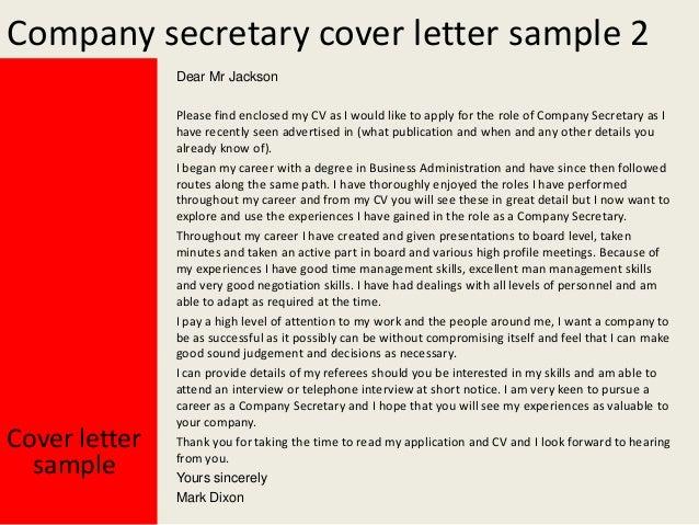 Company secretary cover letter