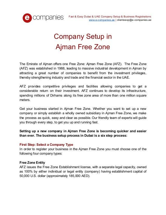 Company setup in ajman free zone