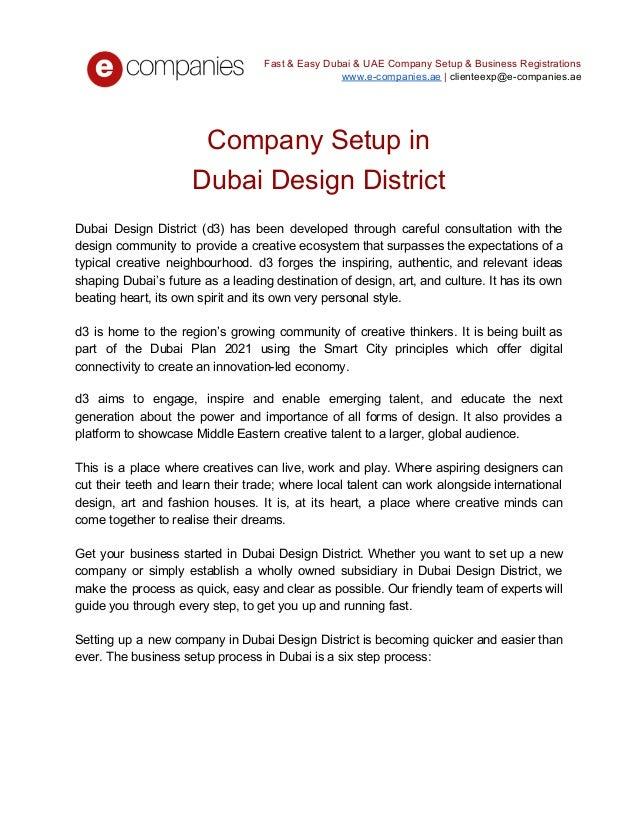 Company Setup In Dubai Design District