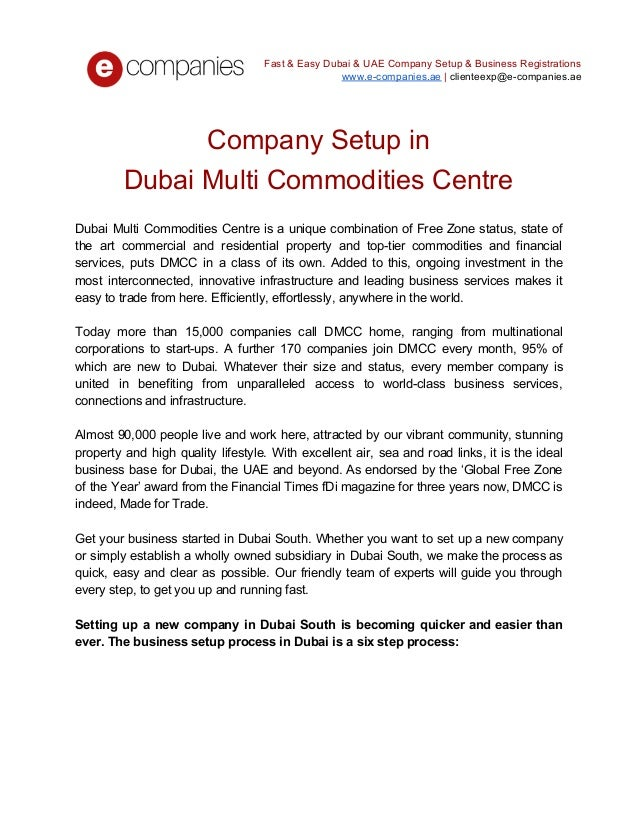 Company setup in dubai multi commodities centre