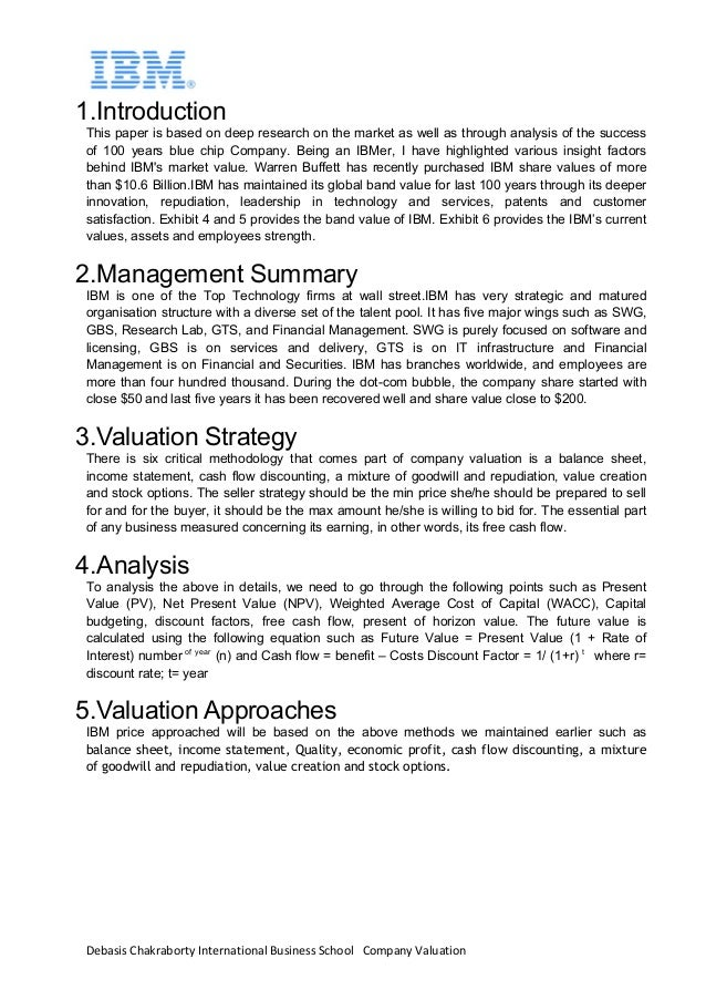 Debasis	Chakraborty	International	Business	School			Company	Valuation		 1.Introduction This paper is based on deep researc...