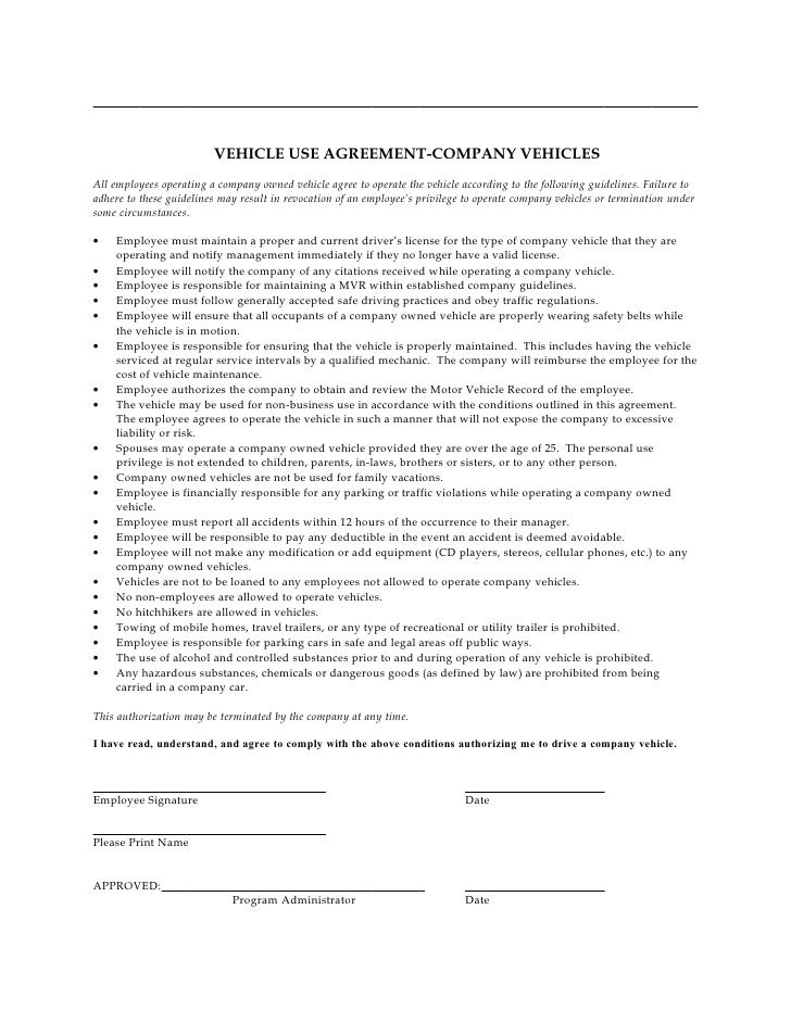 Company Vehicle Use Agreement – Auto Contract Template