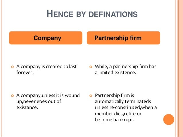 Company vs partnership firm for Firm company