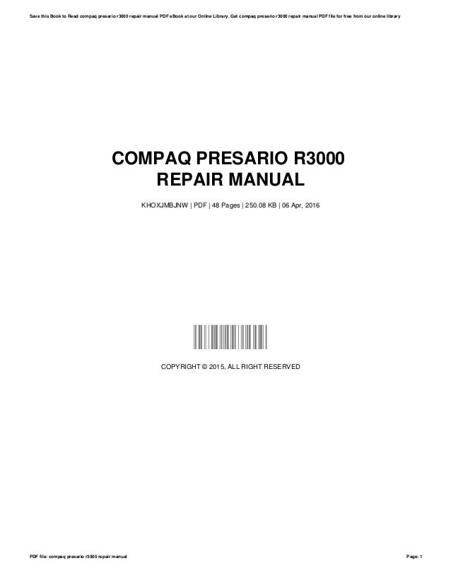 compaq presario r3000 repair manual rh slideshare net Compaq Presario R3000 Specifications Compaq Presario R3000 Manual