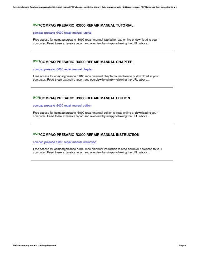 compaq presario r3000 repair manual rh slideshare net Compaq Presario R3000 Specifications Compaq R4000 Presario Charger