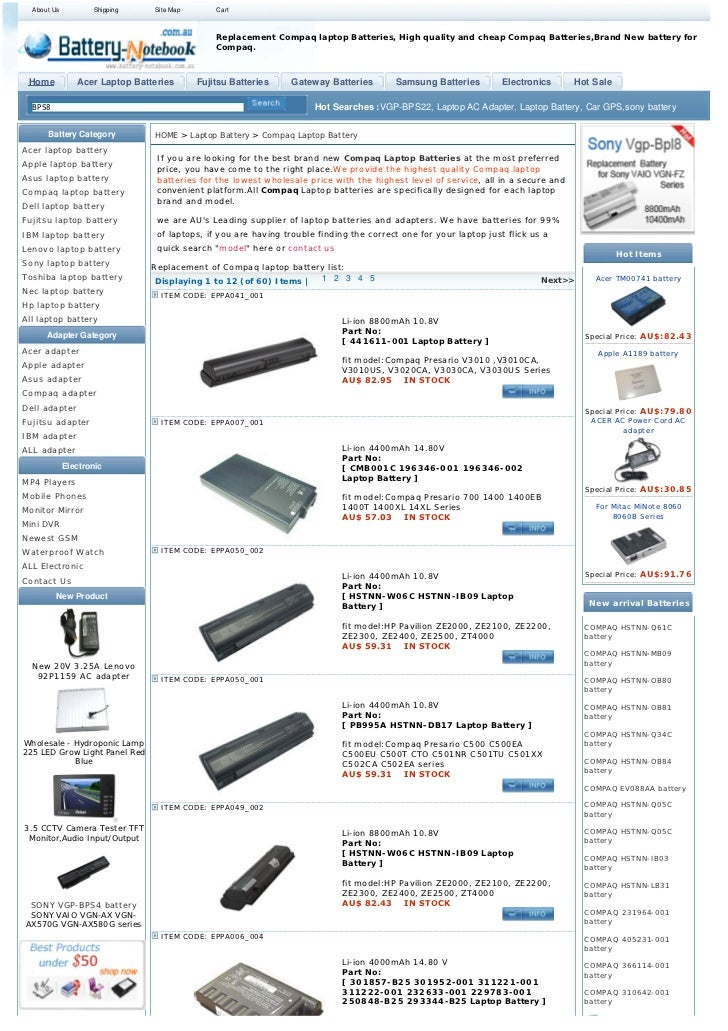 About Us          Shipping    Site Map       Cart                                               Replacement Compaq laptop ...
