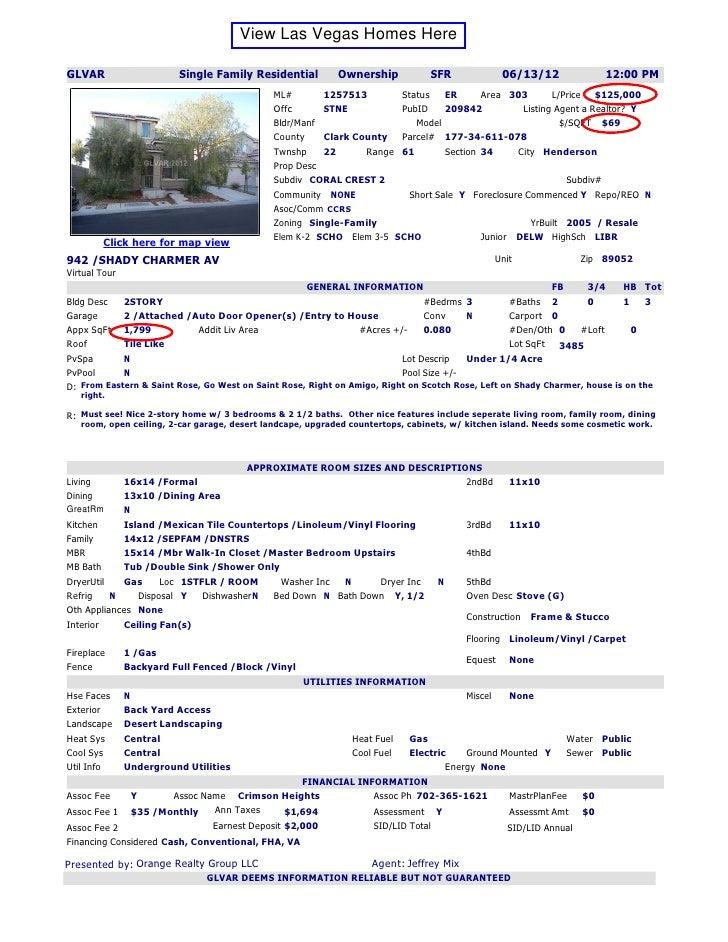 View Las Vegas Homes HereGLVAR                   Single Family Residential           Ownership           SFR             0...