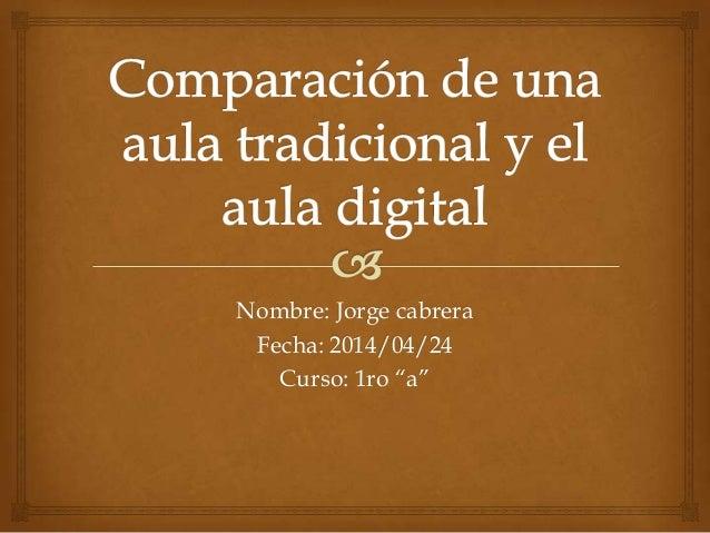 "Nombre: Jorge cabrera Fecha: 2014/04/24 Curso: 1ro ""a"""