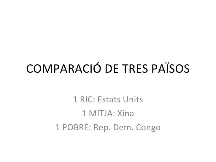 COMPARACIÓ DE TRES PAÏSOS        1 RIC: Estats Units          1 MITJA: Xina    1 POBRE: Rep. Dem. Congo