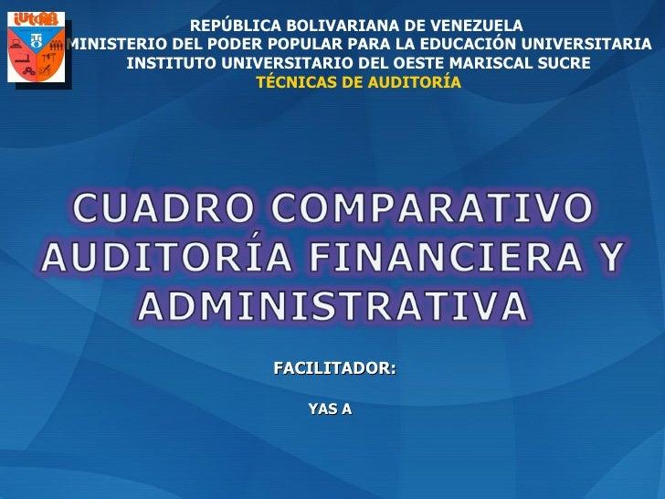 REPÚBLICA BOLIVARIANA DE VENEZUELA  MINISTERIO DEL PODER POPULAR PARA LA EDUCACIÓN UNIVERSITARIA INSTITUTO UNIVERSITARIO D...