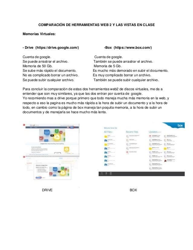 COMPARACIÓN DE HERRAMIENTAS WEB 2 Y LAS VISTAS EN CLASEMemorias Virtuales:- Drive (https://drive.google.com/)             ...