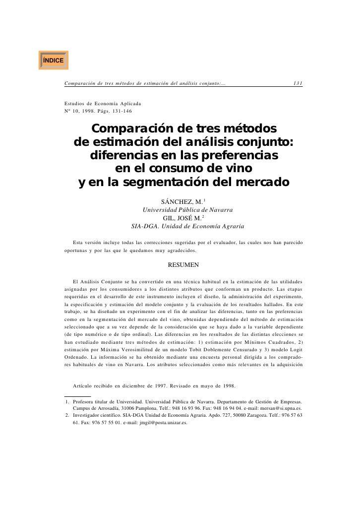 ÍNDICE            Comparación de tres métodos de estimación del análisis conjunto:...                                   13...